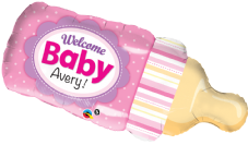 Welcome Baby Bottle Pink Super Shape Foil Balloon